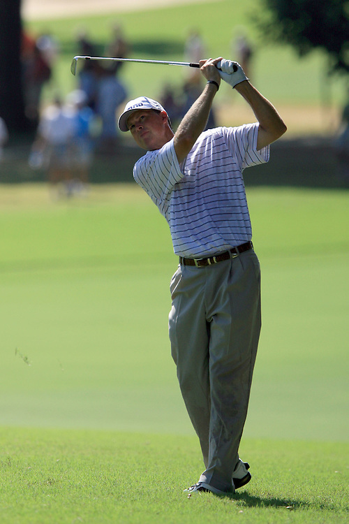 11 August 2007: Bob Tway hits his second shot from the fairway on the 1st hole during the third round of the 89th PGA Championship at Southern Hills Country Club in Tulsa, OK.