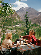 "At the ""Hidden Paradise"" restaurant, you can eat typical Hunza dishes. People and places of the Hunza Valley, in the heart of the Karakoram mountain Range, North Pakistan."