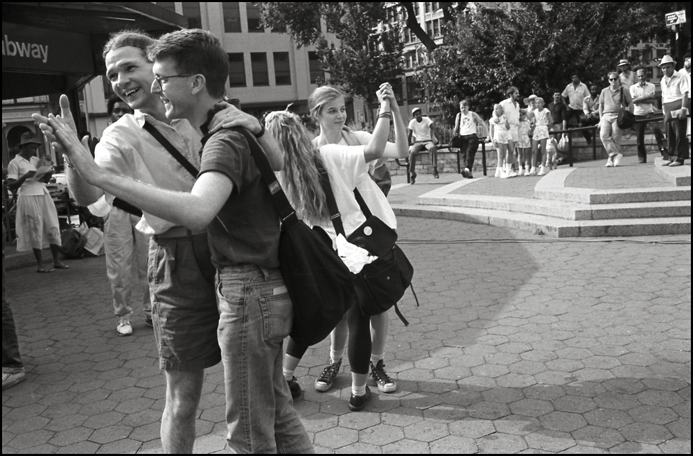 Rollerena, John Wagenhauser , Maria Maggenti and Heidi Dorow dancing in Union Sq. Park in the summer of 1988.