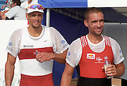 St Catharines, Ontario, CANADA 1999 World Rowing Championships. Men's silver and bronze medalist, left, CAN M1X Derek Porter and SUI M1X Xeno Muller,[Mandatory Credit Peter Spurrier Intersport Images] 1999 FISA. World Rowing Championships, St Catherines, CANADA