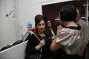 Maureen Paley , Amanda Sharp and Alice Rawthorn,,  Opening of new  Wilkinson gallery. Vyner St. London. E2. Party afterwards at Bistrotheque. 6 September 2007. -DO NOT ARCHIVE-© Copyright Photograph by Dafydd Jones. 248 Clapham Rd. London SW9 0PZ. Tel 0207 820 0771. www.dafjones.com.