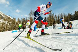 February 2, 2018 - Goms, Switzerland - EIRIK SVERDRUP AUGDAL of Norway competes in the men's 15/15 km skiathlon during the FIS U23 Cross-Country World Ski Championships. (Credit Image: © Vegard Wivestad Grott/Bildbyran via ZUMA Press)