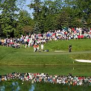 Phil Mickelson putting at the PGA Memorial Golf Tournament in Dublin, Ohio.
