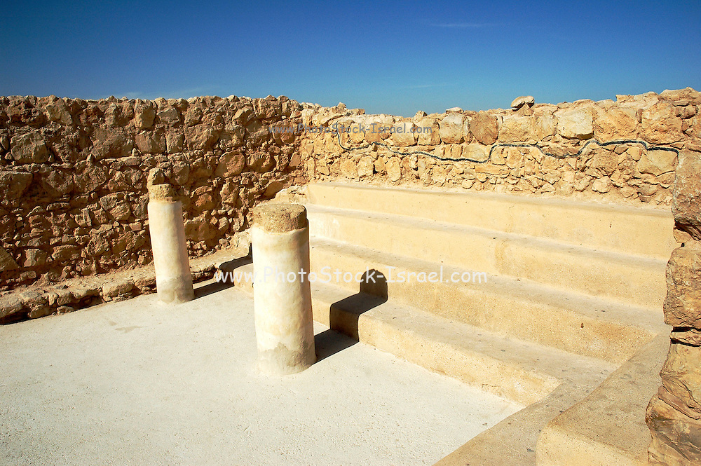 Israel, Masada, Remains of the Metzada Synagogue Metzada is the site of ancient palaces and fortifications in Israel on top of an isolated rock cliff on the eastern edge of the Judean desert overlooking the Dead Sea. where Jewish zealot insurgents held out for three years against the Romans after the fall of Jerusalem in 70C.E. and then committed mass suicide to avoid capture. Metzada has remained a symbol of Jewish heroism.