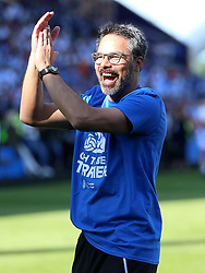 Huddersfield Town manager David Wagner applauds the fans at the end of the match