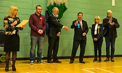 Haddington & Lammermuir by-election count. Haddington, East Lothian, Scotland, United Kingdom, 10 May 2019. Pictured: (L to R) Neil Black, Scottish Labour candidate, David Sisson, UK Independence Party (UKIP) candidate, winning Craig Hoy, Scottish Conservative and Unionist Party candidate, Lorraine Glass, Scottish National Party (SNP) candidate and Stuart Crawford, Scottish Liberal Democrat candidate. The election takes place of one councillor in Ward 5 of East Lothian Council due to the resignation of Councillor Brian Small. The successful candidate represents this ward along with the three existing councillors. The by-election uses the Single Transferable Vote (STV) system in which voters can rank candidates in order of preference and can choose to vote for as many or as few candidates as they like. The election fields 5 candidates from Scottish National Party (SNP), Scottish Labour Party, Scottish Conservatives and Unionist Party, Scottish Liberal Democrats and UK Independence Party (UKIP).<br /> <br /> Sally Anderson | EdinburghElitemedia.co.uk