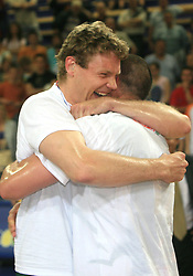 Celebration of Miha Zupan  and Marko Milic of  Union Olimpija after fourth (last) final match of UPC Telemach league and Slovenian  National Championship  between KK Helios Domzale, Domzale and Union Olimpija, Ljubljana, Slovenia, on June 7, 2008, in Komunalni center hall in Domzale. Match was won by Union Olimpija 84:60 and Olimpija became National Champion 2007/2008 fourteen times in history of Slovenia. (Photo by Vid Ponikvar / Sportal Images)