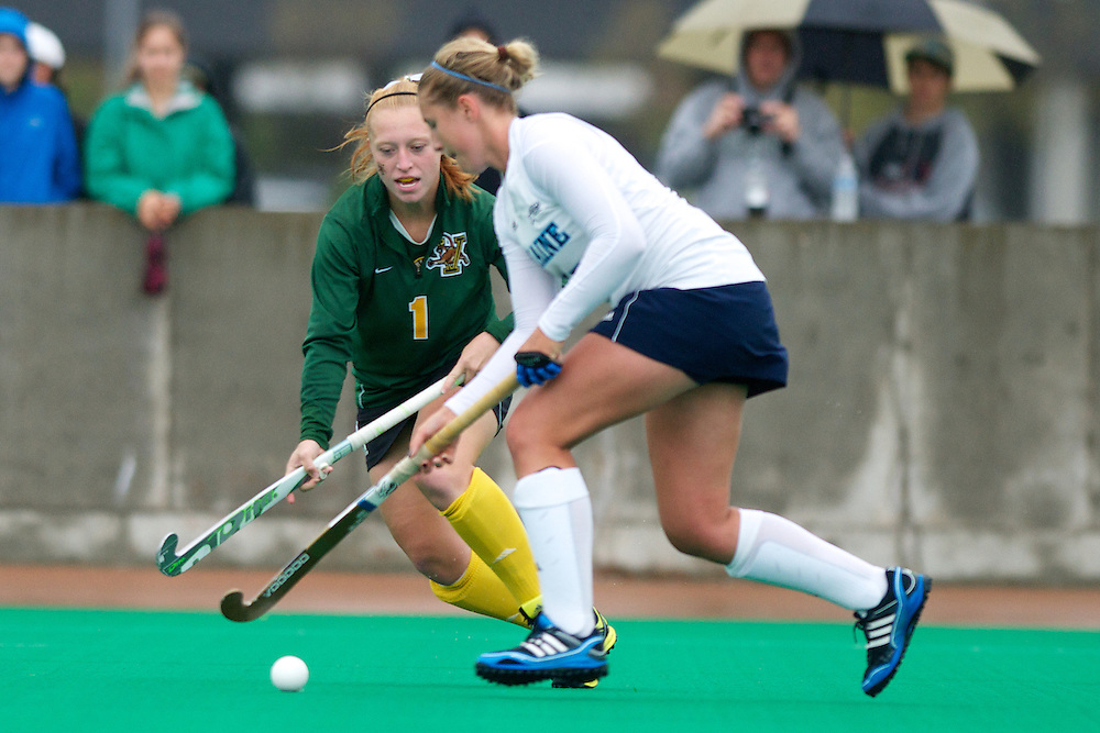 during the women's field hockey game between the Maine Black Bears and the Vermont Catamounts at Moulton/Winder Field on Saturday afternoon September 29, 2012 in Burlington, Vermont.