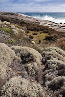 Rocky outcrops stand at each end of the beautiful Squeaky Beach at Wilsons Promontory., Australia.