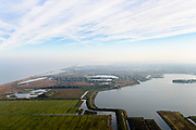 Nederland, Flevoland, Almere Stad, 04-11-2018; Almere, zicht op Noorderplassen, Lepelaaarsplassen, Oostvaardersdiep - Oostvaardersplassen in het verschiet.<br /> View of lake area in Almere.<br /> <br /> luchtfoto (toeslag op standaard tarieven);<br /> aerial photo (additional fee required);<br /> copyright © foto/photo Siebe Swart