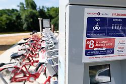 B-Cycle Station, Trinity Trails along Trinity River, Fort Worth, Texas, USA.