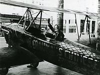 1927 Mary Pickford sits in an old bi-plane in the forecourt of the Grauman's Chinese Theatre