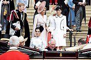 """Koning Willem Alexander wordt door Hare Majesteit Koningin Elizabeth II geïnstalleerd in de 'Most Noble Order of the Garter'. Tijdens een jaarlijkse ceremonie in St. Georgekapel, Windsor Castle, wordt hij geïnstalleerd als 'Supernumerary Knight of the Garter'.<br /> <br /> King Willem Alexander is installed by Her Majesty Queen Elizabeth II in the """"Most Noble Order of the Garter"""". During an annual ceremony in St. George's Chapel, Windsor Castle, he is installed as """"Supernumerary Knight of the Garter"""".<br /> <br /> Op de foto / On the photo:  Koning Willem Alexander en Koningin Maxima met prins William van Cambridge en Catherine, hertogin van Cambridge<br /> <br /> King Willem Alexander and Queen Maxima with Prince William of Cambridge and Catherine, Duchess of Cambridge"""