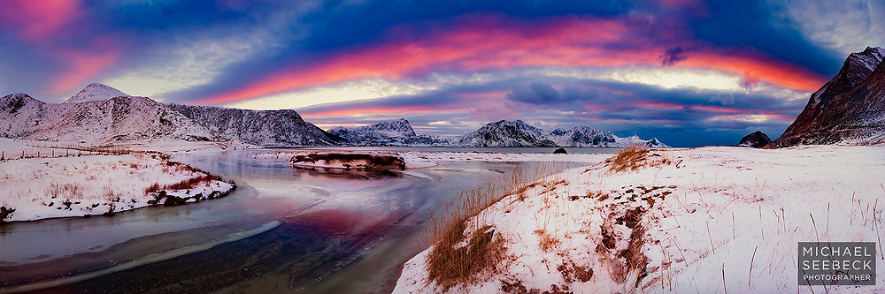 A panoramic photograph of a sunset over Vik Beach, Norway.<br /> <br /> Limited Edition of 125