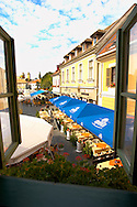 Dobo Square with cafe and Restaurant tables from Hotel Senator Bedroom - Eger Hungary .<br /> <br /> Visit our HUNGARY HISTORIC PLACES PHOTO COLLECTIONS for more photos to download or buy as wall art prints https://funkystock.photoshelter.com/gallery-collection/Pictures-Images-of-Hungary-Photos-of-Hungarian-Historic-Landmark-Sites/C0000Te8AnPgxjRg