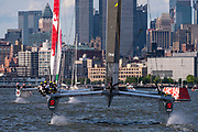 SailGP Team Australia chase Team Australia in their final match race. Race Day 2 Event 3 Season 1 SailGP event in New York City, New York, United States. 22 June 2019. Photo: Chris Cameron for SailGP. Handout image supplied by SailGP