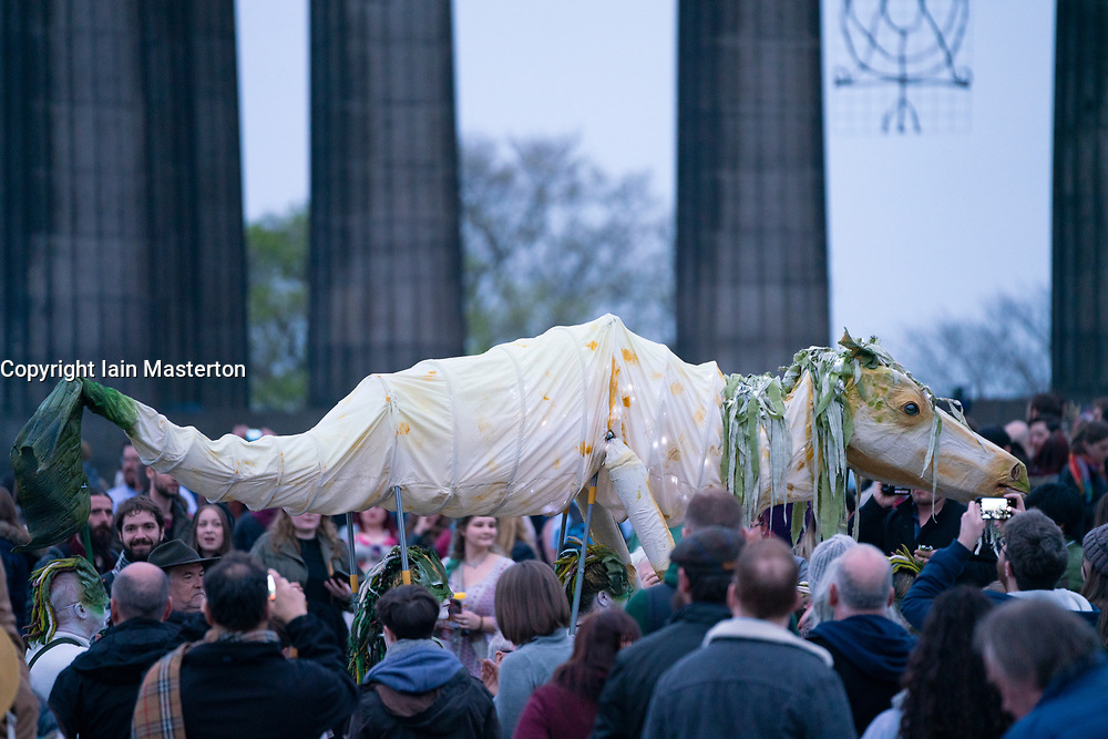 """Edinburgh, Scotland, UK. 30 April, 2019. Beltane Fire Festival ushers in summer on Tuesday 30th April with a spectacular display of fire, immersive theatre, drumming, body paint, and elaborate costumes. Described by some as the """"medieval Burning Man"""", this alternative May Day celebration re-imagines the ancient Celtic festival with roughly 300 volunteer performers for thousands of spectators from all over the world on top of Calton Hill in Edinburgh<br /> <br /> <br /> WHEN"""