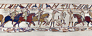 11the Century Medieval Bayeux Tapestry - Scene 52 - Death of Harold brothers, Lewine and Gyrd. .<br /> <br /> If you prefer you can also buy from our ALAMY PHOTO LIBRARY  Collection visit : https://www.alamy.com/portfolio/paul-williams-funkystock/bayeux-tapestry-medieval-art.html  if you know the scene number you want enter BXY followed bt the scene no into the SEARCH WITHIN GALLERY box  i.e BYX 22 for scene 22)<br /> <br />  Visit our MEDIEVAL ART PHOTO COLLECTIONS for more   photos  to download or buy as prints https://funkystock.photoshelter.com/gallery-collection/Medieval-Middle-Ages-Art-Artefacts-Antiquities-Pictures-Images-of/C0000YpKXiAHnG2k
