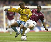 Fotball<br /> Photo Aidan Ellis, Digitalsport<br /> NORWAY ONLY<br /> <br /> West Ham United v Crystal Palace.<br /> Nationwide Divison 1 Play Off final.<br /> Millenium Stadium Cardiff.<br /> 29/05/2004.<br /> West Ham's Hayden Mullins tackles Palace's Wayne Routlidge