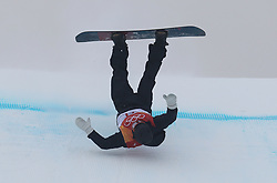 Sweden's Niklas Mattsson falls during run 1 of qualification for Men's Snowboard Slopestyle the PyeongChang 2018 Winter Olympic Games in South Korea.