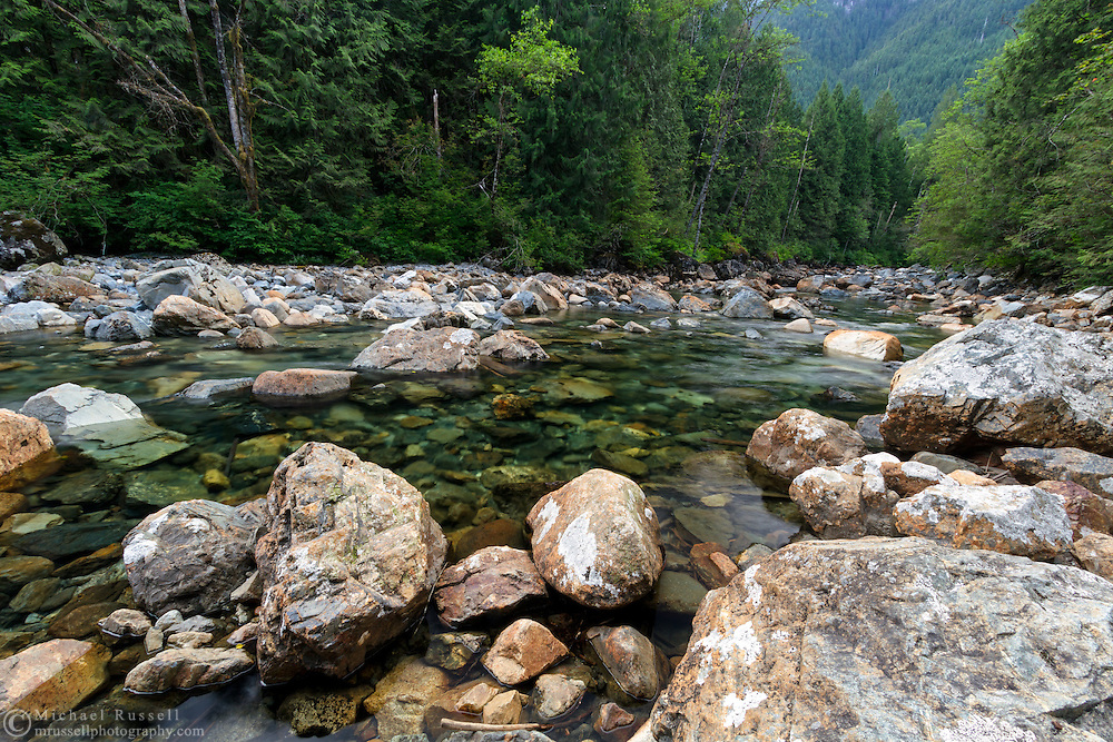 Gold Creek winds through rocks and the forests at Golden Ears Provincial Park in Maple Ridge, British Columbia, Canada.