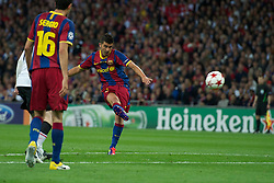 28.05.2011, Wembley Stadium, London, ENG, UEFA CHAMPIONSLEAGUE FINALE 2011, FC Barcelona (ESP) vs Manchester United (ENG), im Bild FC Barcelona's David Villa scores the third goal against Manchester United during the UEFA Champions League Final at Wembley Stadium, EXPA Pictures © 2011, PhotoCredit: EXPA/ Propaganda/ Chris Brunskill *** ATTENTION *** UK OUT!