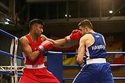 Boxen: Elite, Deutsche Meisterschaften, Viertelfinale, Lübeck, 07.12.2017<br /> Weltergewicht, 69 Kg: Nawid Soliman Asefi (Hamburg, rot) - Berat Tolga Aciksari (Hamburg, blau)<br /> © Torsten Helmke