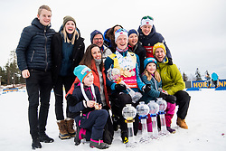 March 24, 2019 - Oslo, NORWAY - 190324 Johannes Thingnes Bø of Norway celebrates with his family after the men's 15 km mass start during the IBU World Cup on March 24, 2019 in Oslo..Photo: Jon Olav Nesvold / BILDBYRÃ…N / kod JE / 160428 (Credit Image: © Jon Olav Nesvold/Bildbyran via ZUMA Press)