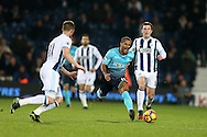 Wayne Routledge of Swansea city (c) in action. Premier league match, West Bromwich Albion v Swansea city at the Hawthorns stadium in West Bromwich, Midlands on Wednesday 14th December 2016. pic by Andrew Orchard, Andrew Orchard sports photography.