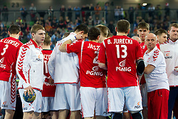 Players of Poland during handball match between National teams of Slovenia and Poland of Qualifications for EURO 2012, on March 9, 2011 in Arena Stozice, Ljubljana, Slovenia. Slovenia defeated Poland 30-28. (Photo By Vid Ponikvar / Sportida.com)