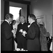 18/02/1957<br /> 02/18/1957<br /> 18 February 1957<br /> Wedding Dr K. Murphy and J. Fitzgerald at St. Mary's Church, Haddington Road and reception at Salthill Hotel, Monkstown. View of priest at reception.