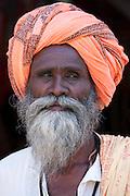 Indian man wearing traditional Rajasthani turban in Sadri town in Pali District of Rajasthan, India