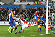 Andre Ayew of Swansea city stretches but puts the ball just wide of goal. Barclays Premier league match, Swansea city v Crystal Palace at the Liberty Stadium in Swansea, South Wales on Saturday 6th February 2016.<br /> pic by Andrew Orchard, Andrew Orchard sports photography.