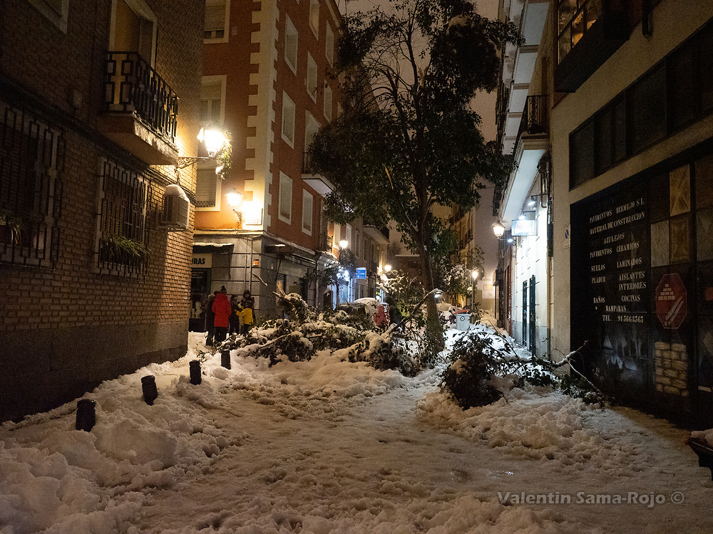 Madrid, Spain. 9th January, 2021. A fallen tree blocking Humilladero street, at Madrid's downtown after the snowfall of storm Filomena. Storm Filomena hits Madrid (Spain), a weather alert was issued for cold temperatures and heavy snow storms across Spain; according to the weather agency Aemet is expected to be one of the snowiest days in recent years. © Valentin Sama-Rojo.