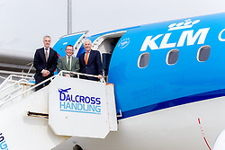 Inverness Airport welcomed KLM's Inaugural flight from Amsterdam. To celebrate the new route, the first flight from Schiphol, Amsterdam was greeted by a water cannon salute upon arrival.  On board were Barry ter Voert, Senior Vice President, Air France KLM European Markets and Wilco Swejen, Director for Aviation Marketing, Schipol Airport.  Provost Helen Carmichael, The Highland Council, Inglis Lyon, Managing Director of Highlands and Islands Aiports and Drew Hendry MP (Inverness, Nairn, Badenoch and Strathspey) met the delegation, officially welcoming the group to the Highlands. <br /> <br /> Pictured L-R: Barry ter Voert, Senior Vice President, Air France KLM Eorpoean Markets, Inglis Lyon, Manging Director of Highlands and Islands Airports, Wilco Swejen, Director of Aviation Marketing, Schiphol Airport  <br /> <br /> Malcolm McCurrach | EEm | Tue, 17, May, 2016