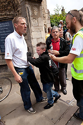 © licensed to London News Pictures. Cambridge, UK  09/07/2011. The English Defence League march in Cambridge. Some EDL supporters were upset after clashes with police along the way. Please see special instructions for usage rates. Photo credit should read Joel Goodman/LNP
