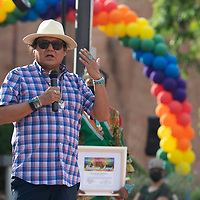 Navajo Nation Council Delegate Nathaniel Brown speaks at Diné Pride in Window Rock, Saturday, June 19. Brown was named a leadership honoree for 2021 at Diné Pride.