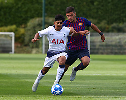 October 3, 2018 - London, England, United Kingdom - Enfield, UK. 03 October, 2018.L-R Dilan Markanday of Tottenham Hotspur and Nils Mortimer of FC Barcelona.during UEFA Youth League match between Tottenham Hotspur and FC Barcelona at Hotspur Way, Enfield. (Credit Image: © Action Foto Sport/NurPhoto/ZUMA Press)