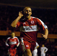 Photo: Jed Wee/Sportsbeat Images.<br /> Middlesbrough v Manchester United. The FA Cup. 10/03/2007.<br /> <br /> Middlesbrough's Lee Cattermole celebrates after scoring the equaliser late in the first half.
