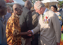 The Prince of Wales, during a visit to the Commonwealth War Graves in Accra, Ghana, on day three of the royal couple's trip to west Africa.
