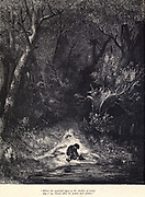 "Where the waterfall piped in the shrillest of trebles Hop o' my Thumb filled his pockets with pebbles."" Illustration from 'Hop O' My Thumb' by Paul Gustave Dore. Hop-o'-My-Thumb (Hop-on-My-Thumb), or Hop o' My Thumb, also known as Little Thumbling, Little Thumb, or Little Poucet is one of the eight fairytales published by Charles Perrault in Histoires ou Contes du temps passé (1697), Where the small boy defeats the ogre. Illustration by Gustave Dore from the book Fairy realm. A collection of the favourite old tales. Illustrated by the pencil of Gustave Dore by Tom Hood, (1835-1874); Gustave Doré, (1832-1883) Published in London by Ward, Lock and Tyler in 1866"