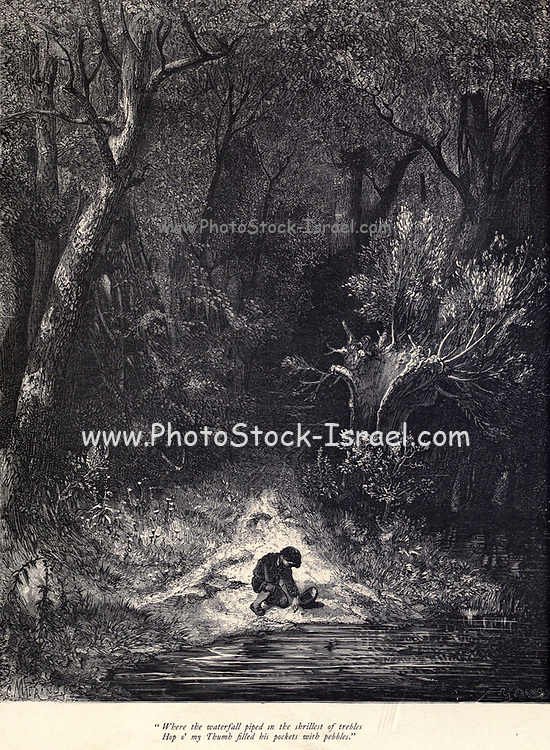 """Where the waterfall piped in the shrillest of trebles Hop o' my Thumb filled his pockets with pebbles."""" Illustration from 'Hop O' My Thumb' by Paul Gustave Dore. Hop-o'-My-Thumb (Hop-on-My-Thumb), or Hop o' My Thumb, also known as Little Thumbling, Little Thumb, or Little Poucet is one of the eight fairytales published by Charles Perrault in Histoires ou Contes du temps passé (1697), Where the small boy defeats the ogre. Illustration by Gustave Dore from the book Fairy realm. A collection of the favourite old tales. Illustrated by the pencil of Gustave Dore by Tom Hood, (1835-1874); Gustave Doré, (1832-1883) Published in London by Ward, Lock and Tyler in 1866"""
