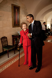 President Barack Obama and former First Lady Nancy Reagan walk side-by-side through Center Hall in the White House, June 2, 2009. To the left of Mrs. Reagan hangs her official White House portrait as First Lady. EXPA Pictures © 2016, PhotoCredit: EXPA/ Photoshot/ str<br /> <br /> *****ATTENTION - for AUT, SLO, CRO, SRB, BIH, MAZ, SUI only*****