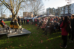 London, UK. 30 November, 2019. Sarah Lewis, Liberal Democrat candidate, speaks at a general election hustings for the Vauxhall constituency outside St Mark's church. Topics discussed included the lack of social housing provision, knife crime, the suitability of the candidates to be Prime Minister and airport expansion.