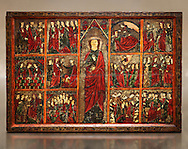 Gothic painted Panel of the life of Saint Ursula. Tempera and varnished metal plate on wood. National Museum of Catalan Art, inv no: 004377-000 .<br /> <br /> If you prefer you can also buy from our ALAMY PHOTO LIBRARY  Collection visit : https://www.alamy.com/portfolio/paul-williams-funkystock/romanesque-art-antiquities.html<br /> Type -     MNAC     - into the LOWER SEARCH WITHIN GALLERY box. Refine search by adding background colour, place, subject etc<br /> <br /> Visit our ROMANESQUE ART PHOTO COLLECTION for more   photos  to download or buy as prints https://funkystock.photoshelter.com/gallery-collection/Medieval-Romanesque-Art-Antiquities-Historic-Sites-Pictures-Images-of/C0000uYGQT94tY_Y