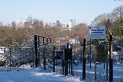 Winter scene in the snow ilooking towards the city centre from Moor Green Allotments on 25th January 2021 in Birmingham, United Kingdom. Deep snow arrived in the Midlands giving some light relief and fun during the current lockdown for people who simply enjoyed the weather.