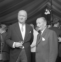 Left to right, CAPT.CECIL BOYD-ROCHFORT and SIR HUMPHREY DE TRAFFORD at the wedding of Julia Murless to Henry Cecil at Warren Place, Newmarket on18th October 1966.
