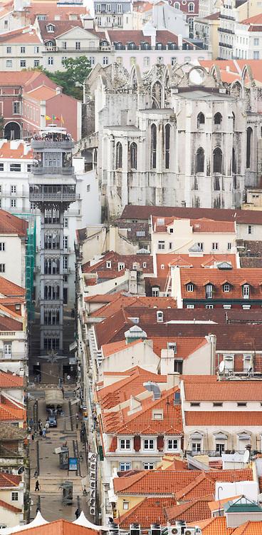 Elevator Elevador de Santa Justa. Igreja do Carmo church. City view. From Castelo de Sao Jorge. Lisbon, Portugal