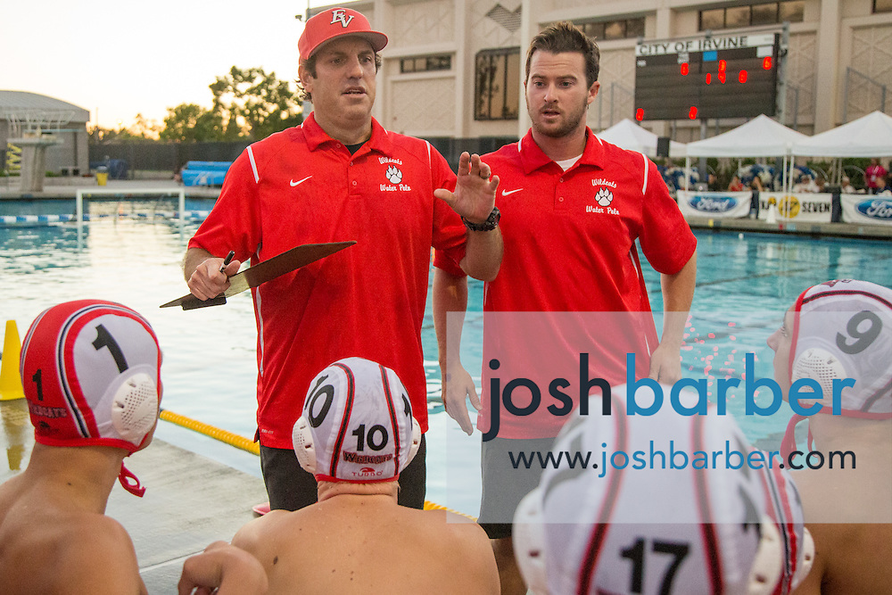 Redlands East Valley head coach Ryan Williams, assistant coach Christian Jamison during the CIF-SS Division 5 Boy's Water Polo Final at Woollett Aquatic Center on Saturday, November 21, 2015 in Irvine, California. (Photo/Josh Barber)