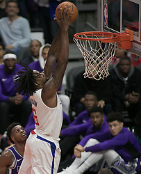 October 12, 2017 - Los Angeles, California, U.S - DeAndre Jordan #6 of the Los Angeles Clippers dunks the ball during their preseason game against the Sacramento Kings Thursday October 12, 2017 at the Galen Center in USC in Los Angeles, California. Clippers defeat Kings, 104-87. (Credit Image: © Prensa Internacional via ZUMA Wire)